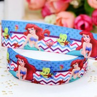 Wholesale 7 quot mm Cartoon Princesses Airel Chevron Printed Grosgrain Ribbon for Girl Hair Bow DIY Decos Yards