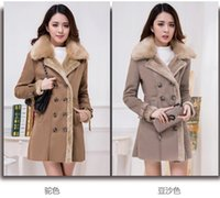 Wholesale 2015 New Women Fur Coat Imitation Fur A Body Medium long Big MAO Collar Add Wool Add Thick Of Cultivate One s Morality Coat M XL k1304