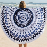 serviettes - 2015 New Arrival Cotton Roud Bohemia Printed Tassel Knitted Beach Towel toalla playa serviette de plage drop shipping