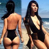 Wholesale 2016 New Sexy Deep V One Piece Women Monokini Swimsuit Black Brazilian Monokini Swimwear Biquinis Bodysuit High Waist Swimsuit