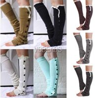 boot socks - Crochet Long Socks Lace Trim Flat Button Down Leg Warmer Boot Socks Knee High Ballet Dance Warm up Knitted Gaiters Boot Cuffs Stocking Socks