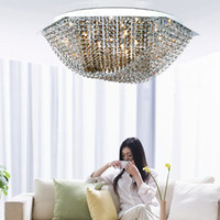 Wholesale 28 quot Dining room Modern Hexagon Led ceiling light G4 Led bulb Bar coffee shop led ceiling lamp large champagne clear lustres de cristal
