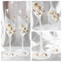 champagne flutes - Exquisite Crystal Shell Wine Glasses Handmade Lead free Champagne Flutes Beach Wedding Decorations Wedding Decors Wedding Supplies