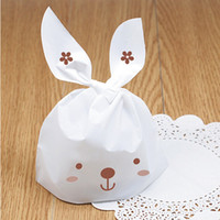 Wholesale 48pcs cm lovely white rabbit ear biscuit bag cookie flat bags food cake package bakery gift packaging
