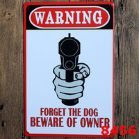 bar owner - BEWARE OF OWNER FORGET THE DOG GUN Metal Poster Retro Wall Decor Vintage Tin Sign Art Art for Bar