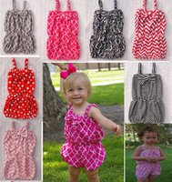 90-100-110-120-130(5sizes) chevron clothing - baby girls chevron romper slip one piece clothing polka dot jumpsuit infant toddler Leopard suspenders bloomers pant children
