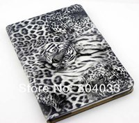 Wholesale 2015 Novelty Tiger Grain PU Leather Case TPU Back Cover Shell Stand Holder ID Credit Card Wallet Smart Cases for iPad Mini