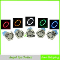 Wholesale 16mm V LED Car Moto Truck Angel Eye Stainless Steel Annular Metal Button Switch Flat Head Latching Push Start A VAC