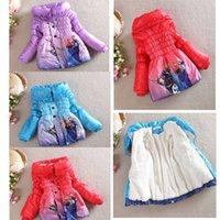 Wholesale Frozen color Frozen Elsa Anna down winter coat Kids thick long cotton padded clothes Jacket Coat outwear EMS Free