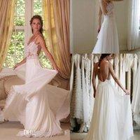 off white lace bridal wedding dress - 2015 Boho Wedding Dress V Neck Backless Sweep Train Off White Lace Bridal Wedding Dress Dresses Evening Party Plus Size vestidos de BG50204