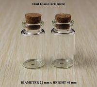 Cheap 10ml Glass Bottle With Wood Cork Clear Glass Bottle Wishing Bottle D22XH40mm