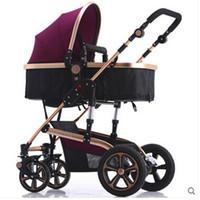 baby doll pram - Infant travel stroller Doll pram Baby kinderwagen Babysing Bidirectional Four Wheel Pushchair Pram Shock Absorbers Folding By