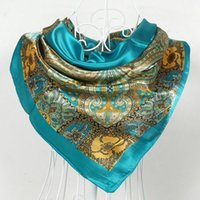 Cheap Free shipping, 2014 fashion spring and autumn women's large satin silk scarf square 90cm cashew flowers scarf SC0270