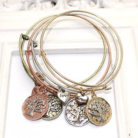 flower bracelet - Hot Sale Alex and Ani Bracelets Bangles For Women Retro Alloy Plating Gold Silver Tree of Life Heart LOVE Pendant Bracelet Charm bracelets