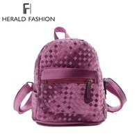bags ramps - Fashion Knitting Women s Backpacks Preppy Style Gradient Ramp Bags Weave Rucksack Casual PU Leather Backpack Small School Bag