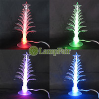 Cheap Wholesale-Color Changing USB PC Flashlight Christmas Tree Xmas Novelty LED Light Wishing Cupula Top Star Sparkling Decoration YDXmasTree7C
