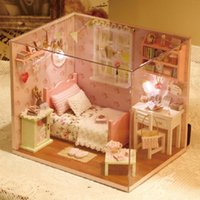angels puzzle - Diy Wooden Miniature Doll House Furniture Toy Miniatura Puzzle Model Handmade Dollhouse Creative Birthday Gift Sunshine angel