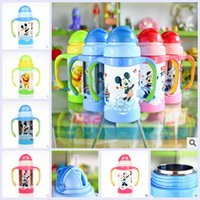 Wholesale 5 colors pooh cartoon mickey minnie Vacuum sippy cups handle kettle young boys girls baby drink cup christmas birthday gift topB1138