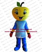 Wholesale Vivid Yellow Apple Fruit Mascot Costume Orange Grapefruit Ponkan Lemon Wearing Blue Clothing Mascotte Adult No Free Ship