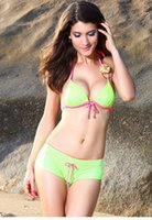accented o - O Ring Delicate Flower Accent Green Bikini Swimsuit LC40978 new summer beach push up bathing suits