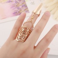 flower nail - Fashion Metal Punk Personality Hollow Rose Flower Gold Silver Women Conjoined Nails Rings In Jewelry