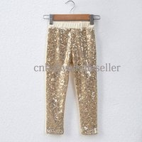Wholesale 2016 Girls Long Pants Kids New Gold and Sliever Sequined Cotton Leggings Baby Pants Kids Clothing PT50308 Y