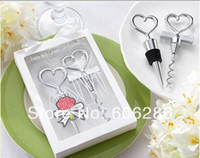 Wholesale 60pairs Heart Shape Couple wine bottle corkscrew opener and Stopper Sets Wedding Favors Gifts party souvenirs