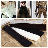Wholesale New Arrival Fashion Winter Mitten Warm Unisex Men Women Arm Warmer Fingerless Knitted Long Gloves Retail