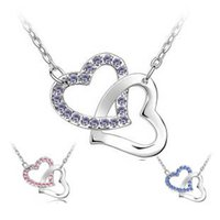 crystal heart - 2015 New Romantic Silver Plated Crystal Heart to Heart Pendant Necklace Korean Jewelry For Women