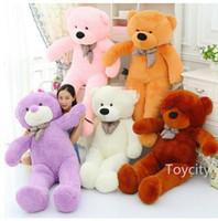 Wholesale Stuffed Teddy Bear DHL free white black bown pink purple yellow cm factory safe bear