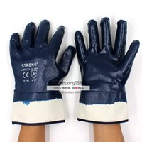 Wholesale 12 Pairs Protective Work Gloves blue nitrile gloves dipped oil canvas slip working gloves