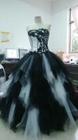 Wholesale 2015 Black And White Ball Gown Quinceanera Dress Strapless Corset Appliqued Ruffle Tulle Floor Length Gothic Wedding Dress Prom Party Gowns