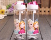 Wholesale Hot Lovely Children Cup Cartoon Frozen Elsa Anna PP Texture Suction Cup with drinking straw water bottle ML ML