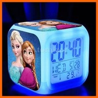 Wholesale Frozen TMNT Alarm Clock LED Clock color Digital Alarm Clock Desk Digital Table Clock Night Light Colorful Glowing Clock