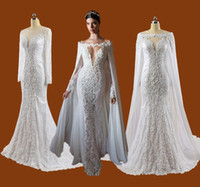 Wholesale 2015 Berta Real Photos Sexy Lace Mermaid Wedding Dresses With Detachable Cape Jewel Neck Plunging Long Sleeve Beaded Appliques Bridal Gowns