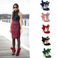 black heel bow - Big Size Hot Wedding Bowtie Shoes for Women Suede Pointed Toe Ladies Tie High Heels Red Bow Ankle Strap Shoes