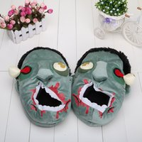 bag zombies - 11 inch Cute Funny Zombies Slippers Cartoon Plush Home Slippers Creative Big Cotton Shoes opp bag