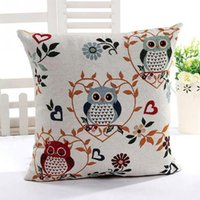 Wholesale New Fashion Cute Owl Pattern Cotton Linen Pillow Case Sofa Throw Cushion Cover Home Decor