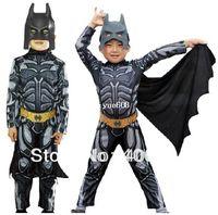 batman belt costume - new style children batman costume set siamese clothes plastic mask belt cape halloween party costume for kids