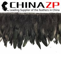 Wholesale Leading Supplier CHINAZP Factory yards Cheap Dyed Black Chinchilla Rooster Half Bronze Feather Trim Fringe
