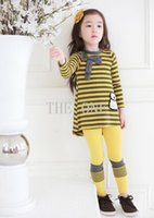 Cheap kids outfits baby autumn winter clothes kids bowknot long sleeve striped dress leggings tights pants for baby toddler baby suits for girls
