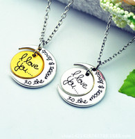 Wholesale 3 colors i love you Necklace I Love You to the moon and back necklace round two pieces pendant moon necklace Gift Chain LJJA2197
