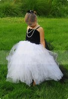 black and white flower girl dresses - 2015 Custom Made Classic Black And White Flower Girl Dresses Spaghetti Strapless Ball Gown Floor Length Zipper Back Flower Girl Dress