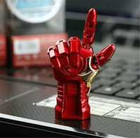 Wholesale AVENGERS LED IRON MAN Hand Model GB GB gb USB2 flash Memory Pen Drive Stick Retail Packaging free dropship goodmmemory