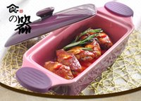 Wholesale A rectangle with cover ceramic baking pan The purple x13x11cm FanPan baking utensils