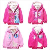 tweed jacket - DHL EMS Free Fast Shipping Elsa Anna Autum Winter Thicken Warm Fleece Hoodied Tweed Jacket For Big Children Coat Coats Styles J2862