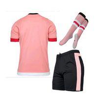 Wholesale 15 Pink Custom DIY Football Jersey Pogba Morata Dybala Football Kit Set with Socks Men Sports jersey