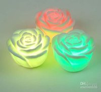 Wholesale 2015 new gift Changeable Color LED Rose Flower Candle lights smokeless flameless roses love lamp