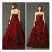 Reference Images red ball gown wedding dress - 2015 Latest Bridal Gown Strapless Sleeveless Ruffled Flowers Applique Lace Sweep Train Wine Red Organza Ball Gown Wedding Dress