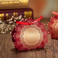 Wholesale Red Golden Printing Laser Cut Wedding Favor Boxes with Ribbon Paper Candy Gift Boxes as Wedding Decoration